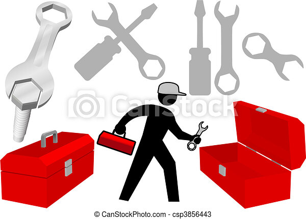 Tool Set Repair Work Person Objects Icons - csp3856443