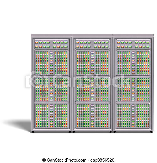 a historic science fiction computer or mainframe. 3D rendering with  and shadow over white - csp3856520