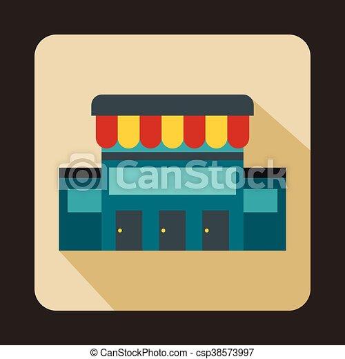 Supermarkt gebäude clipart  EPS Vektoren von gebäude, ikone, stil, supermarkt, wohnung ...