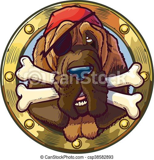 Pirate Bloodhound Dog with Bones - csp38582893