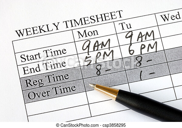Filling the weekly time sheet - csp3858295