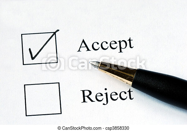 Select the Accept option with a pen - csp3858330