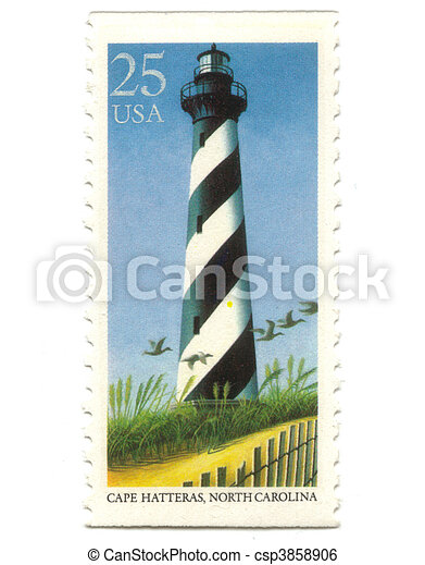 Old postage stamp from USA with Lighthouses  - csp3858906