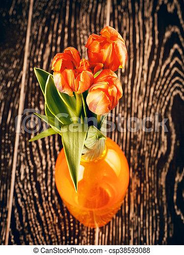 Tulip Flowers Bouquet In Vase - csp38593088