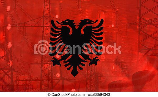 ambiente, tecnología, bandera, concepto, albania - csp38594343
