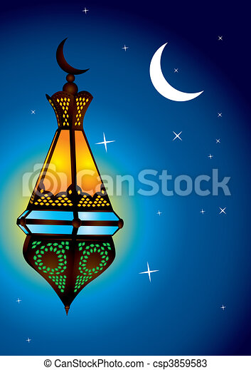 Intricate arabic lamp with moon crescent - csp3859583