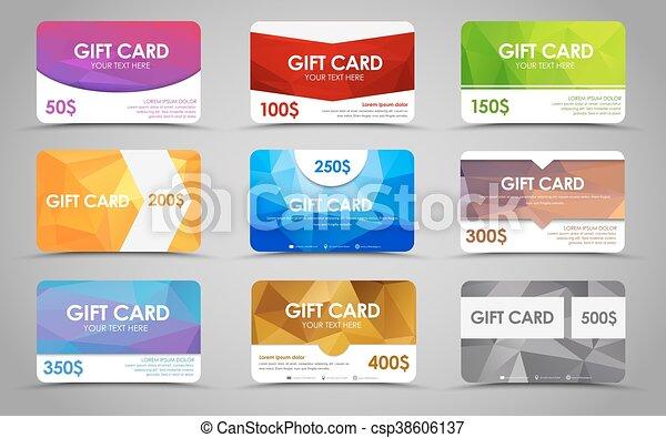 Set polygonal gift cards - csp38606137