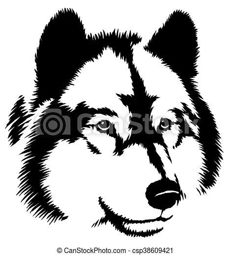 Clip art de dessiner illustration peinture loup noir - Dessin noir et blanc ...