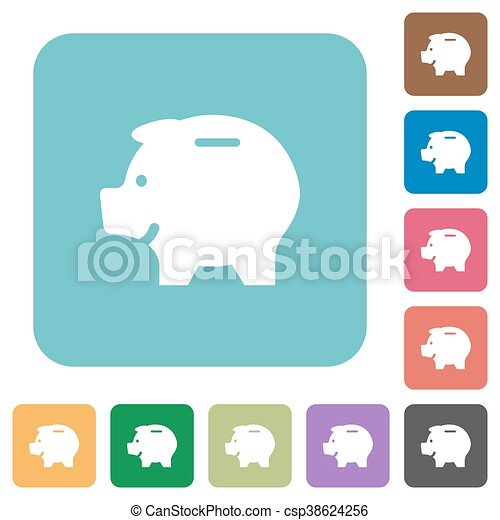 Flat piggy bank icons - csp38624256