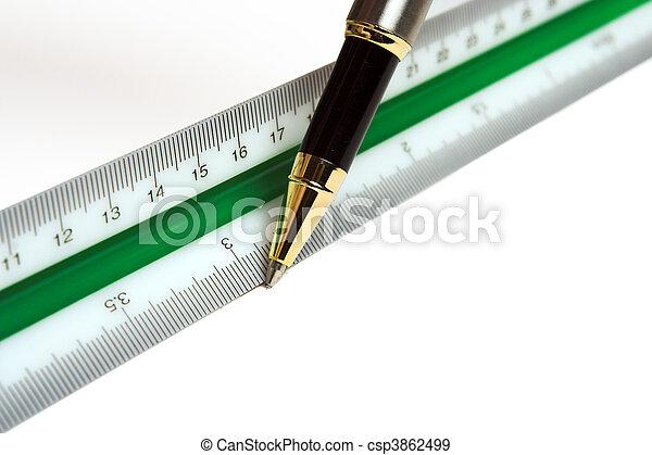 Ruler and pen - csp3862499