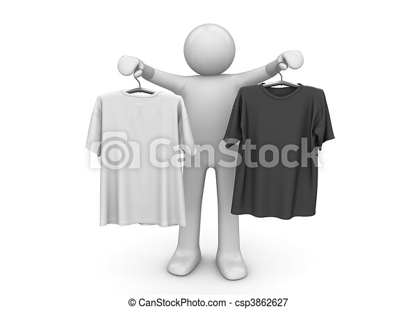 Two t-shirts on clothes hangers - Lifestyle collection - csp3862627