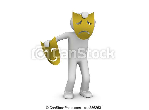 Sad theater mask  - Arts/entertainment collection - csp3862631