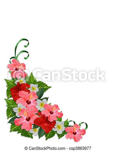Tropical Flowers corner border - csp3863977