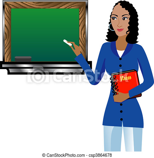 Teacher with Chalkboard - csp3864678