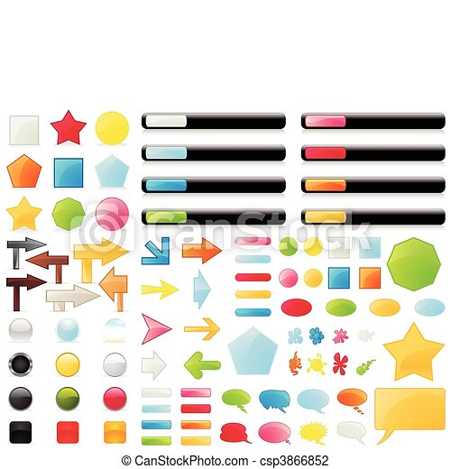 The big collection of buttons of different colours. A vector illustration - csp3866852