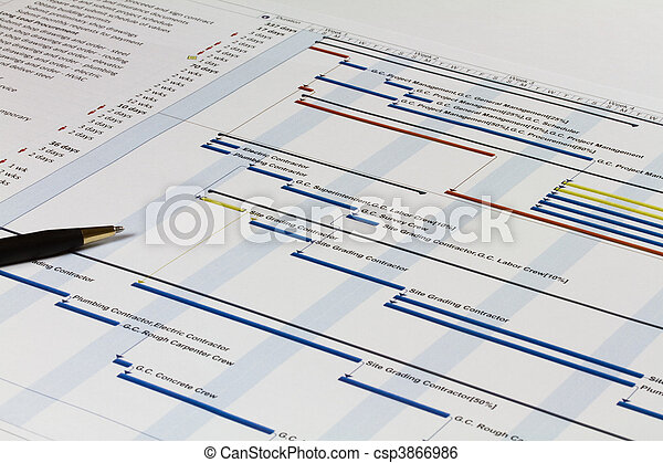 鋼筆, 左, 圖表,  gantt - csp3866986