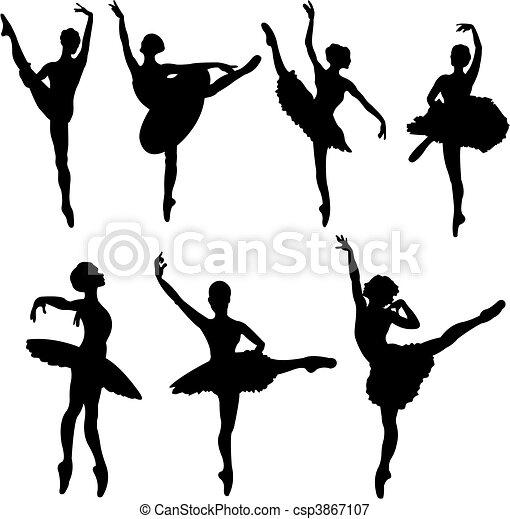 vectoriales de ballet, bailarines, Siluetas - Conjunto, de, ballet ...
