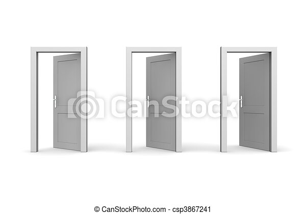 Open Door Clipart clipart of three grey open doors - line of three grey doors - door