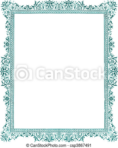 Antique green flora; decorative border - csp3867491