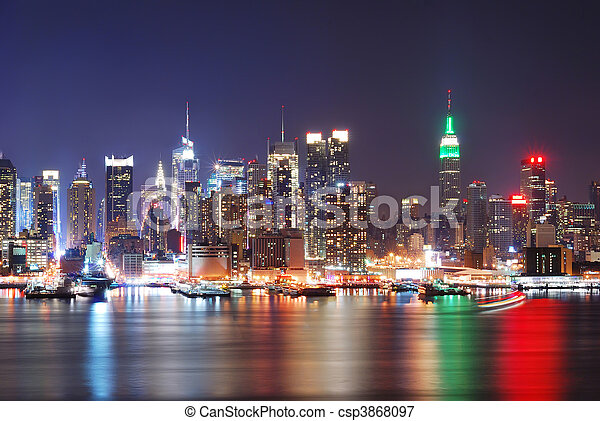 URBAN CITY NIGHT SCENE  - csp3868097