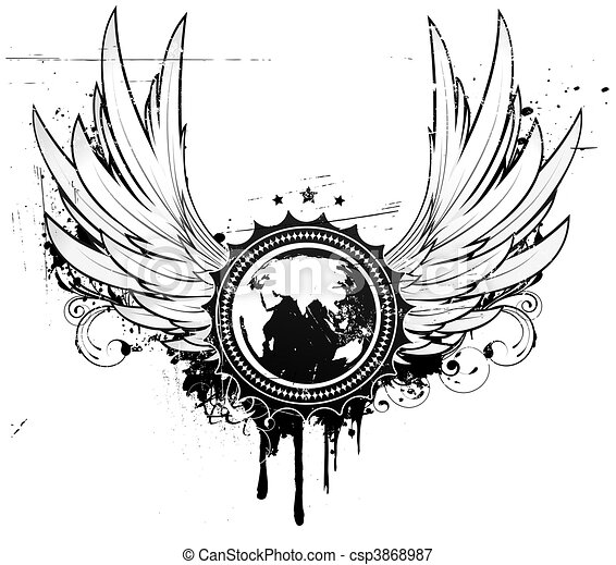 grunge coat of arms - csp3868987