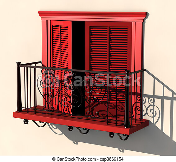 Drawing of red balcony in strong summer light 3d for Balcony clipart