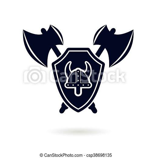 vectors of viking logo vector - viking shield helmet swords