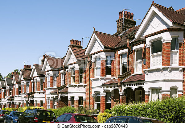 Row of Typical English Terraced Houses at London.  - csp3870443