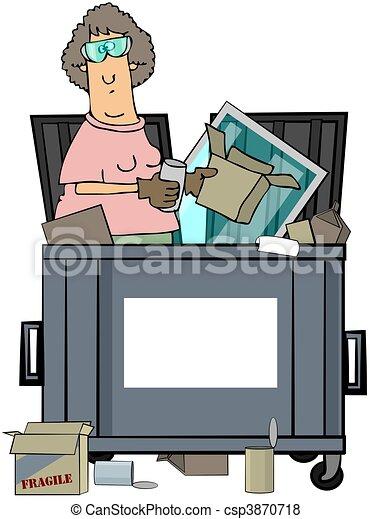 Stock Illustration of Woman Dumpster Diver - This illustration ...