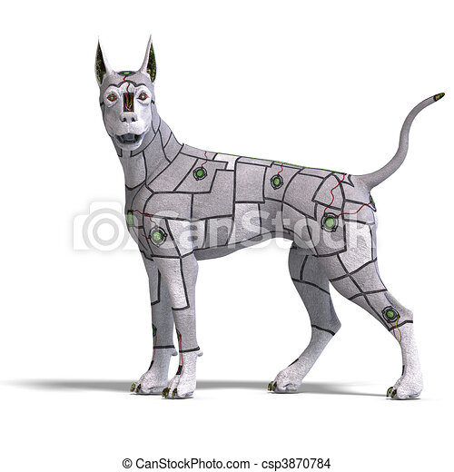 Robotic Dog Drawing Electronical Scifi Dog of The