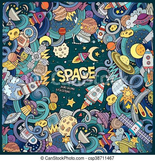 Cartoon cute doodles hand drawn space illustration - csp38711467