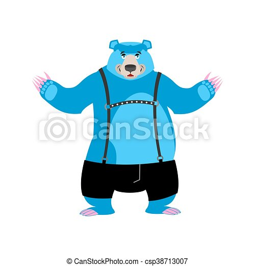 Vector Clipart of Gay blue bear animal symbol of sexual community ...