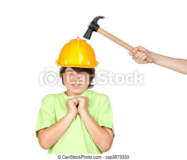 Frightened child with yellow helmet - csp3873333