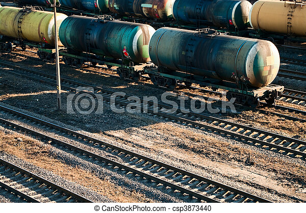 Wagons of a freight train transporting oil - csp3873440