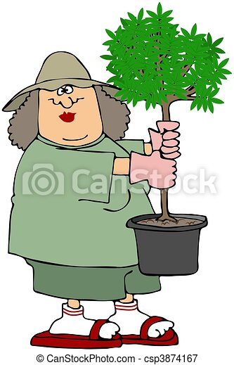 Woman Holding A Potted Tree - csp3874167