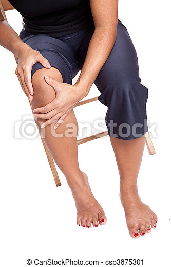 Woman suffering from pain on knee - csp3875301