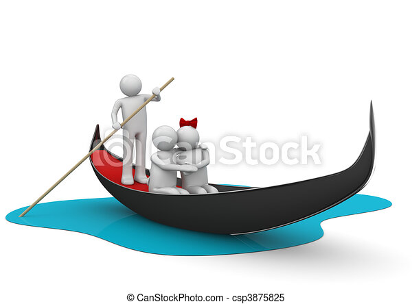 Gondolier and romantic couple in gondola - Workers / Lifestyle c - csp3875825