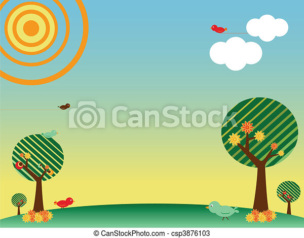 Retro spring landscape with birds and trees - csp3876103