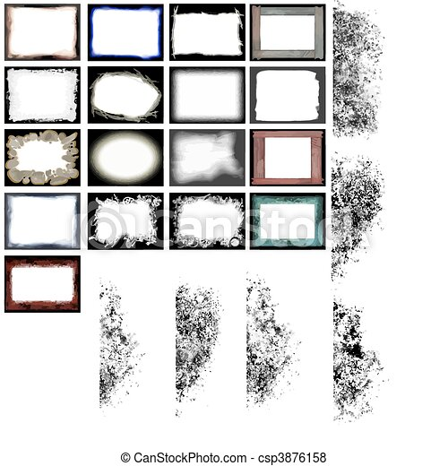 grunge frames and edges vector - csp3876158