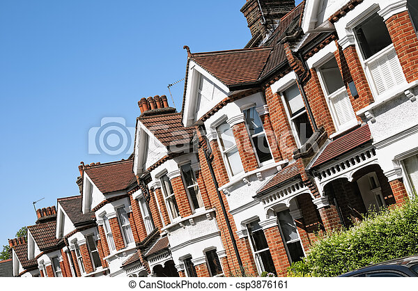 Row of Typical English Terraced Houses at London.  - csp3876161