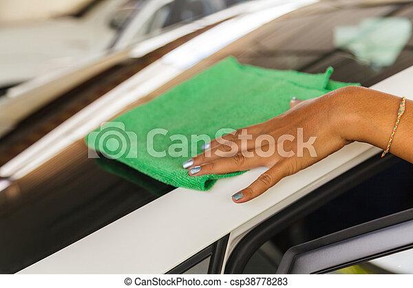 Car wash service, Hands of worker washing car on a car wash