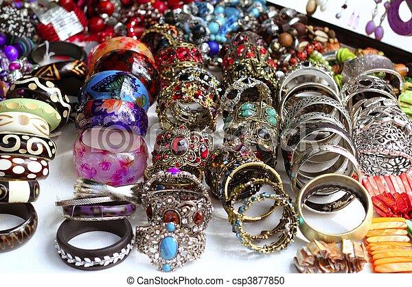 Bracelets jewelry showcase shop bargain - csp3877850