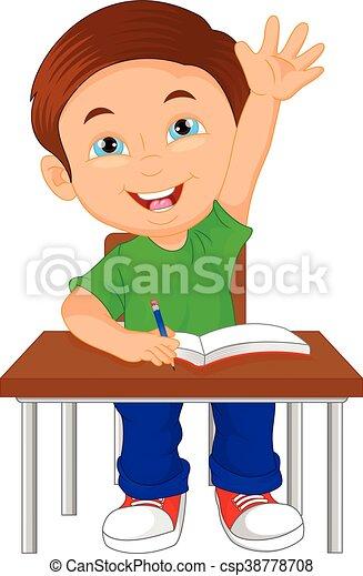 Tisch schule clipart  Vektor Clipart von junge, schule, sitzen, tisch - vektor ...