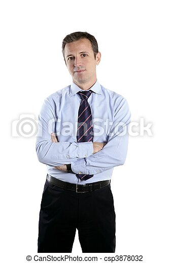 businessman medium age crossed arms tie - csp3878032