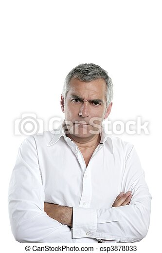 angry businessman senior gray hair serious man - csp3878033