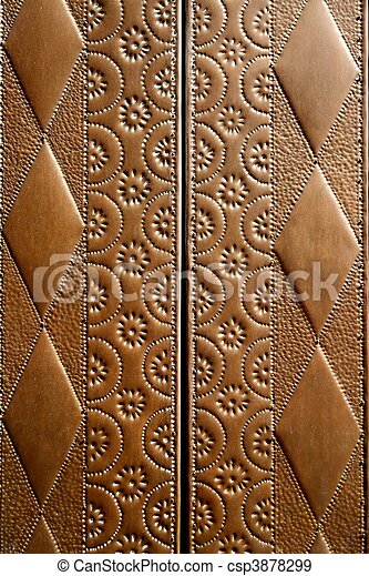 embossed brass vintage old church door detail - csp3878299