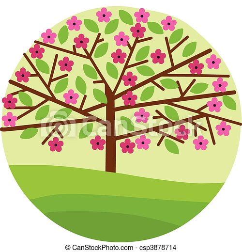 blossom of spring tree with flowers and leafs - csp3878714