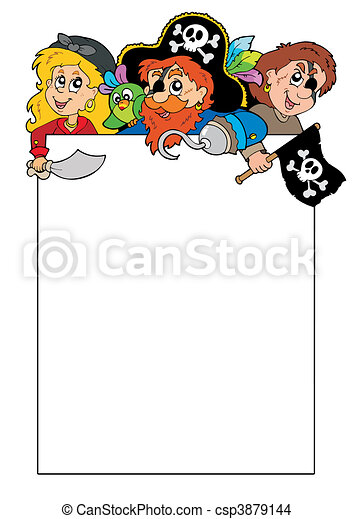 Blank frame with cartoon pirates - csp3879144