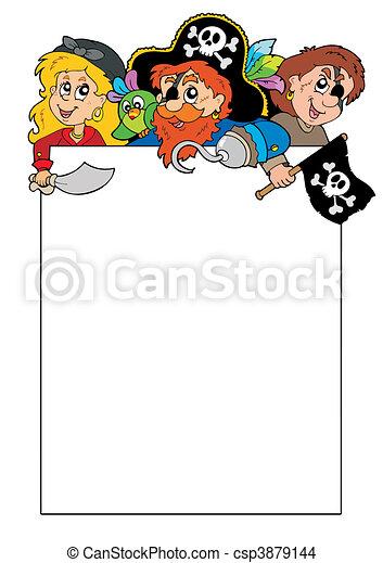 Blank frame with cartoon pirates - csp3879144