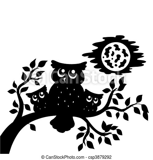Silhouette of three owls on branch - csp3879292